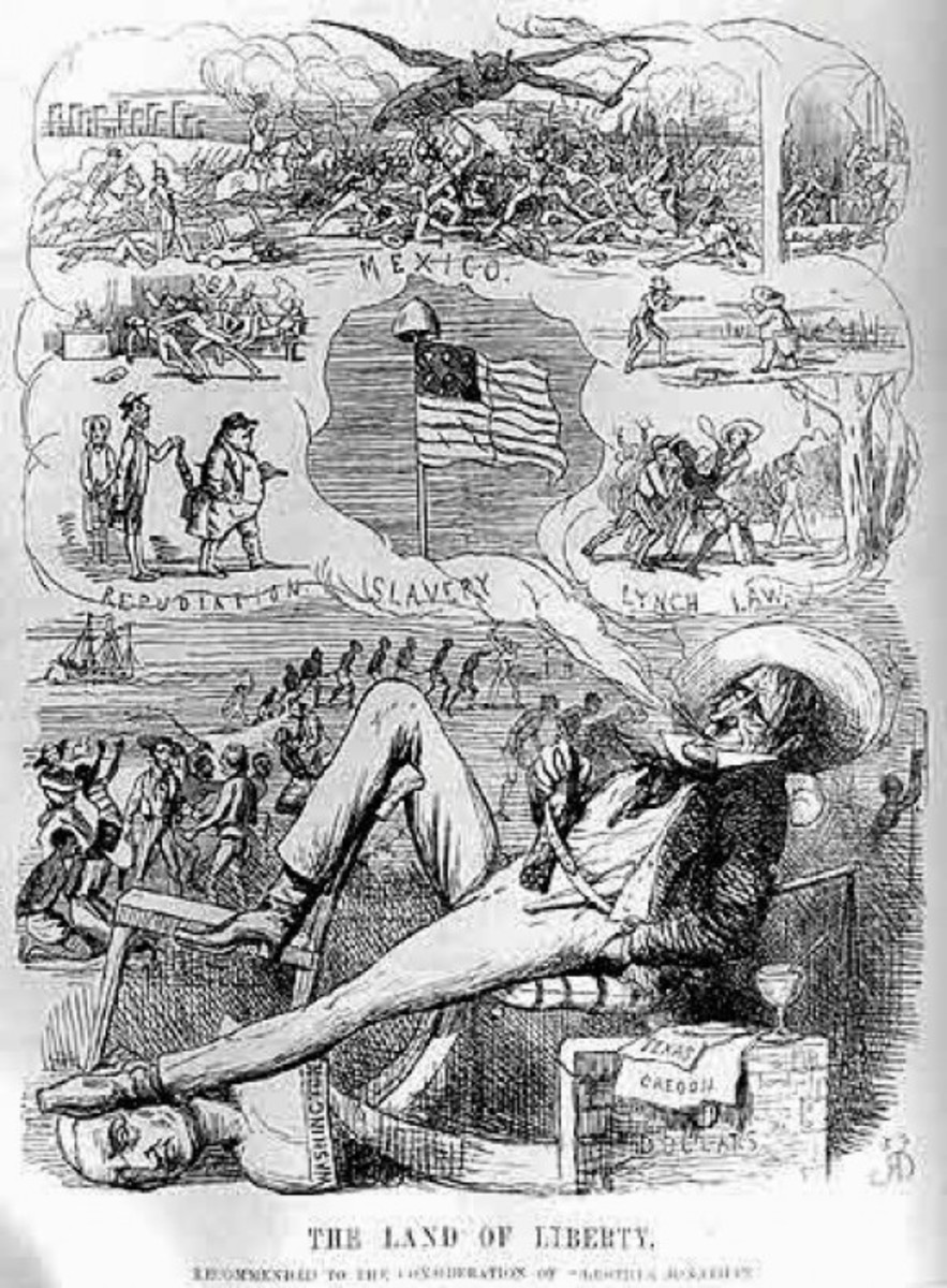 A British cartoon that depicts the escalating American regional crisis (c. 1860)