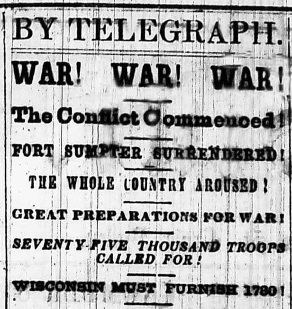 Wisconsin Newspaper, April 1861