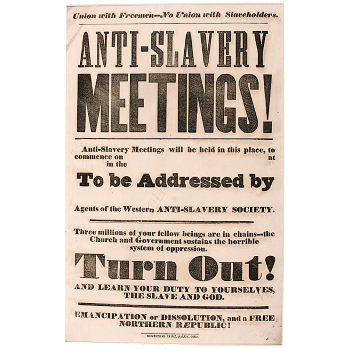 A poster that advertises anti-Slavery meetings