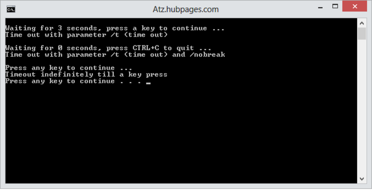 using parameters /T, /NOBREAK ans /t -1