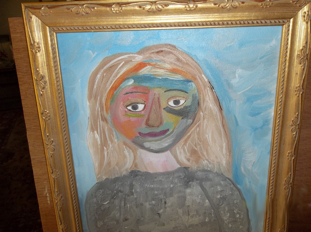 Sybil selected every frame and did her own framing of her paintings. This painting, she said, was influenced by how Picasso uses color.