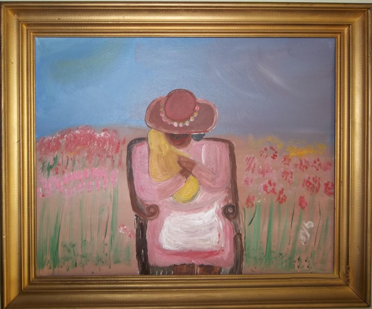 """Embracing newborn Joy,"" 1995, by Sybil Reddick."