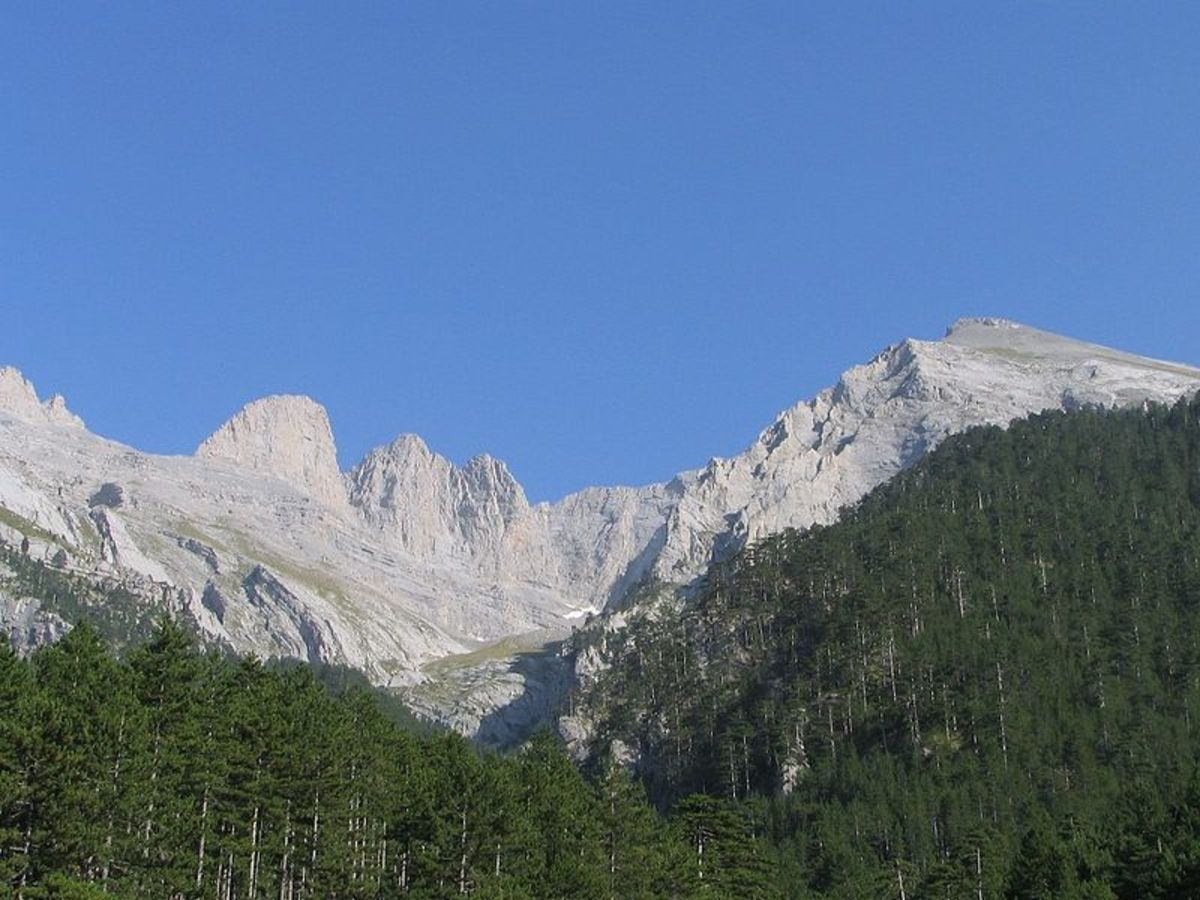Mount Olympus, between Thessaly and Macedonia in Greece.