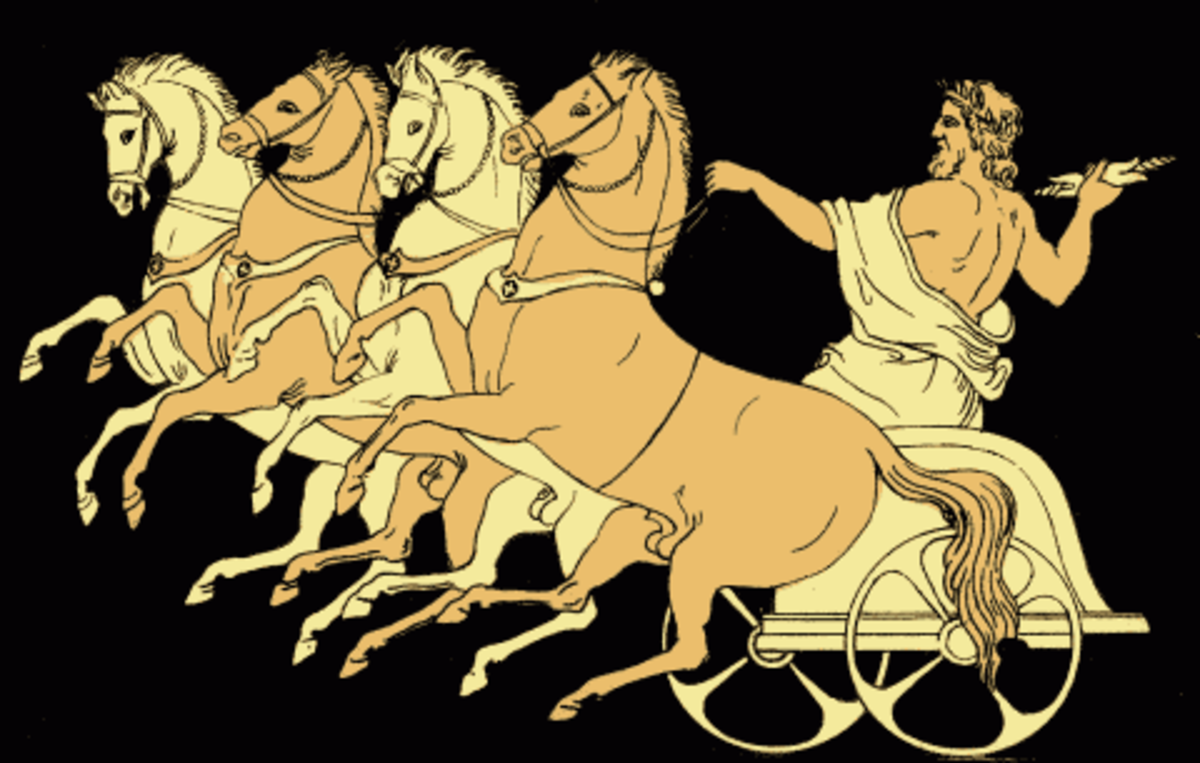 Zeus in his chariot, from the 1879 Stories from the Greek Tragedians by Alfred Church