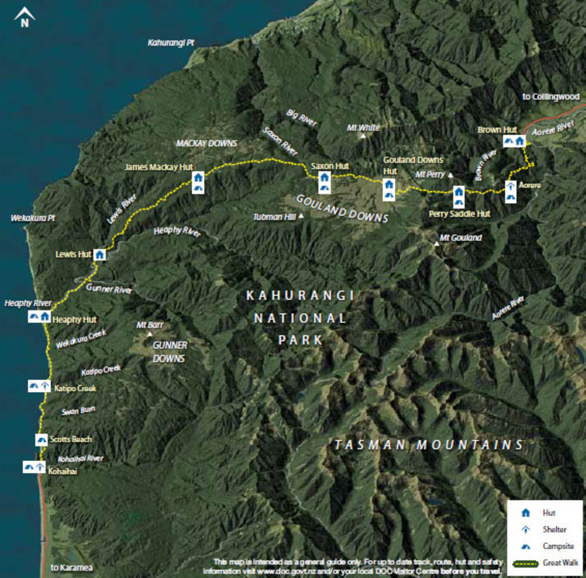 Map of the Heaphy Track
