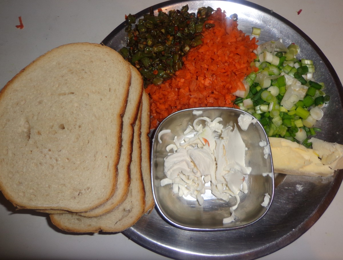 Ingredients for Spring onion vegetable Sandwich recipe