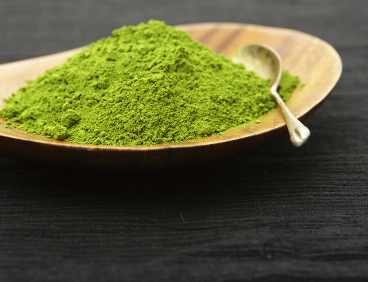 Rich dark green matcha powder, provided it was grown in shade and tended to religiously.