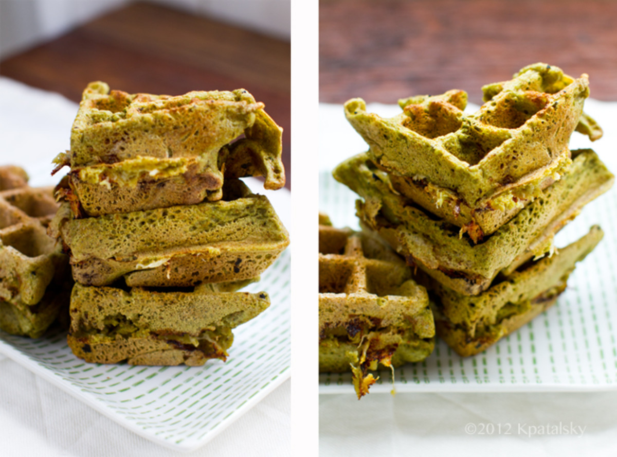 Matcha powdered waffles.