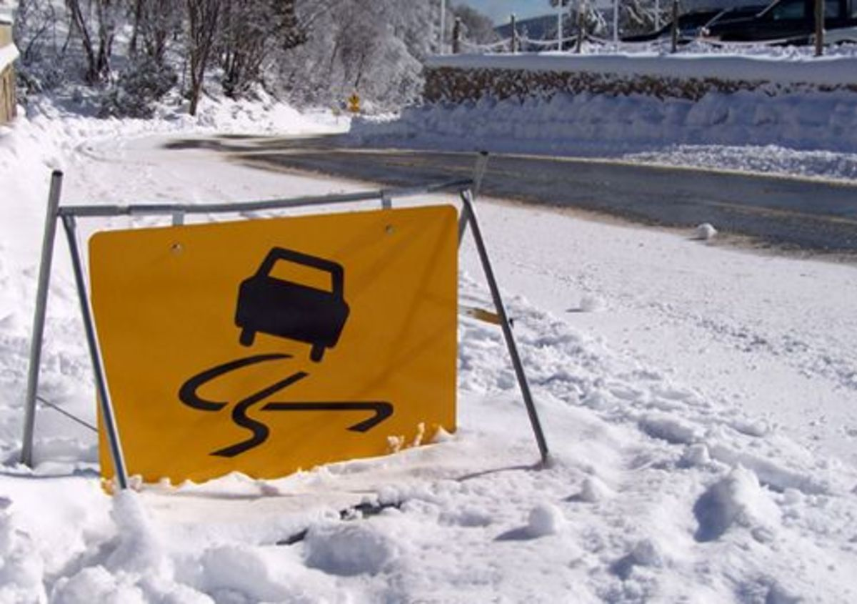 Moving On Icy Roads in The Winter