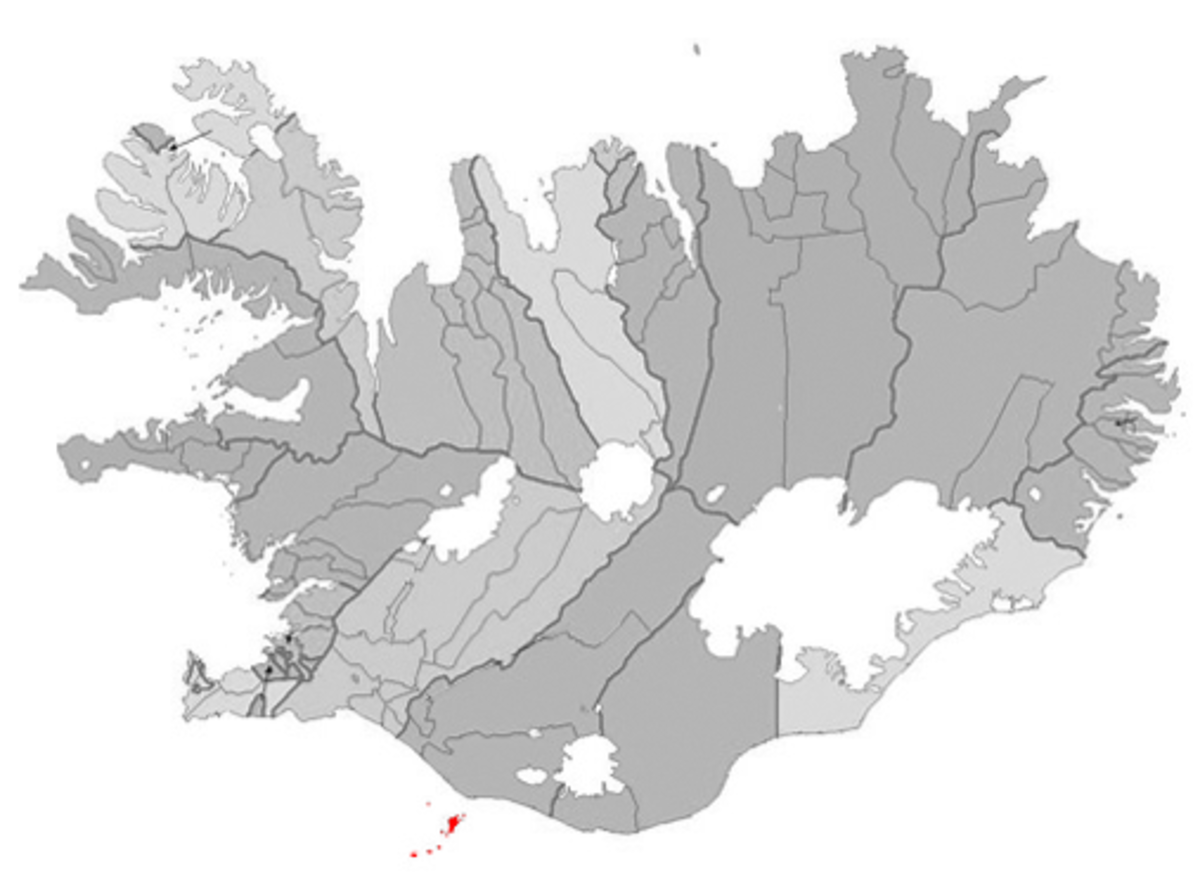 The Vestmannaeyjar archipelago in Iceland, highlighted in red in southern Iceland.
