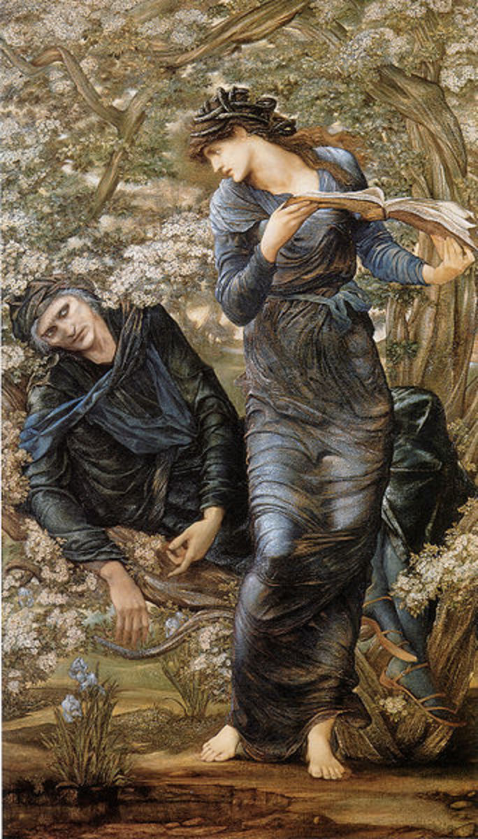 Merlin and Nimue, Lady of the Lake, shown holding the infatuated Merlin trapped and reading from a book of spells, in The   Beguiling of Merlin by Edward Burne-Jones.