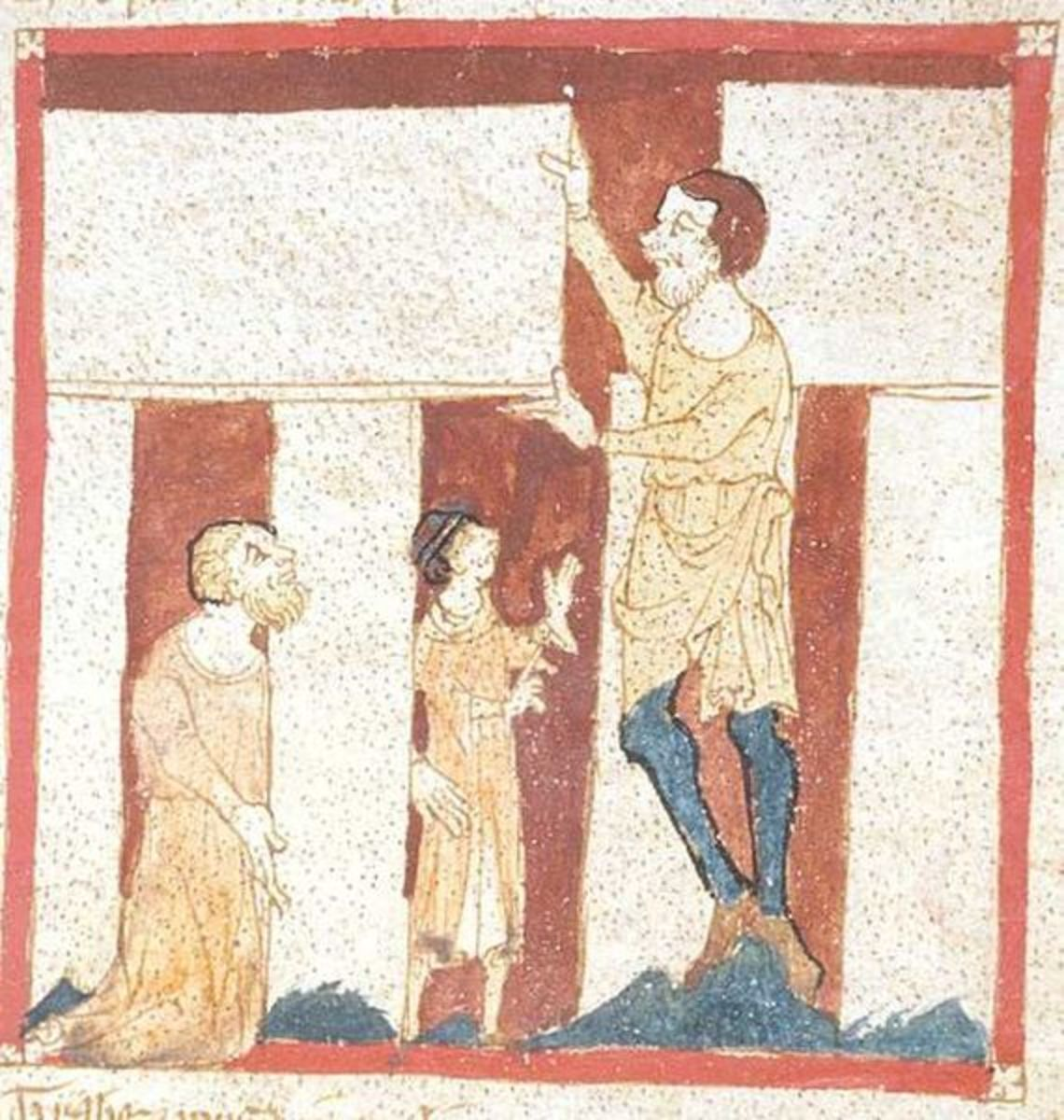 Merlin builds Stonhenge with the help of a giant. From a manuscript of the Roman de Brut by Wace (British Library, Egerton 3208)