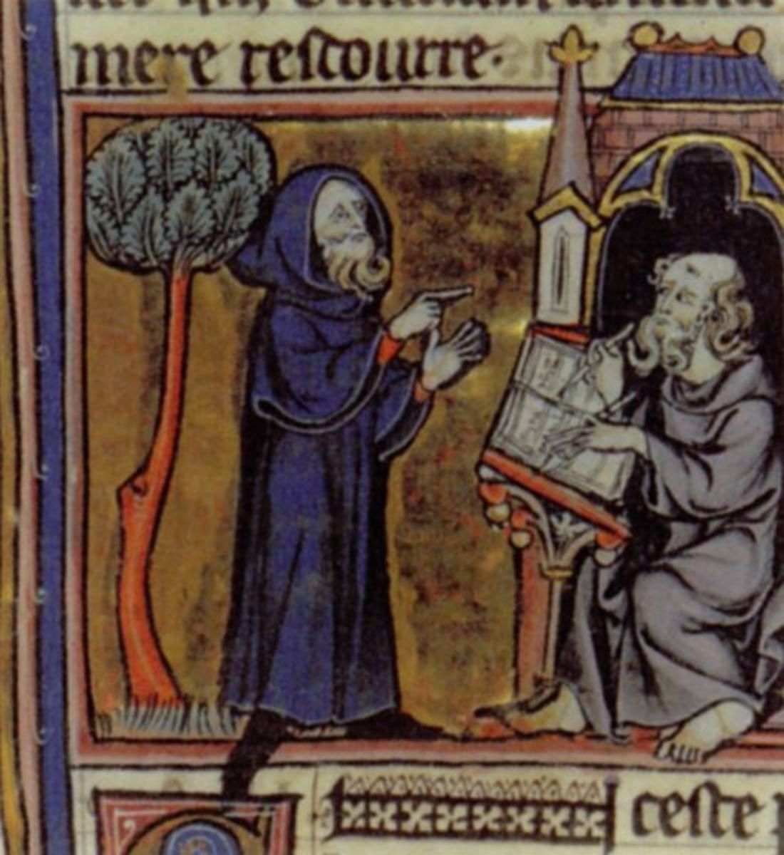 Merlin and Blaise; French 13th century miniature from Robert de Boron's Merlin en prose  (written ca 1200)