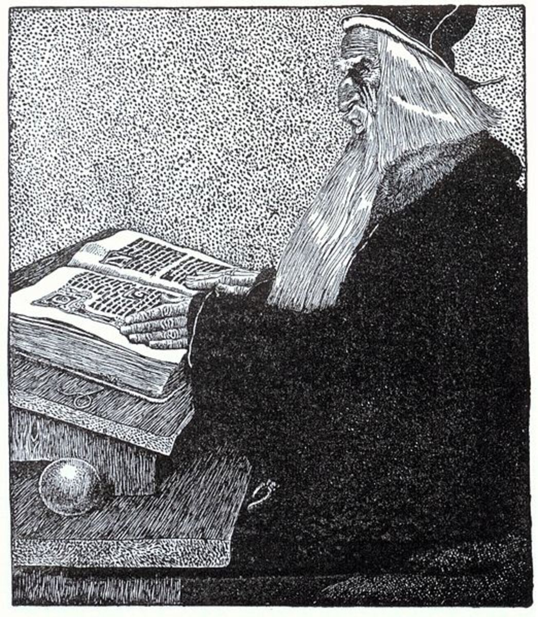 Merlin the Enchanter, by Howard Pyle from The Story of King Arthur and His Knights. (1903)