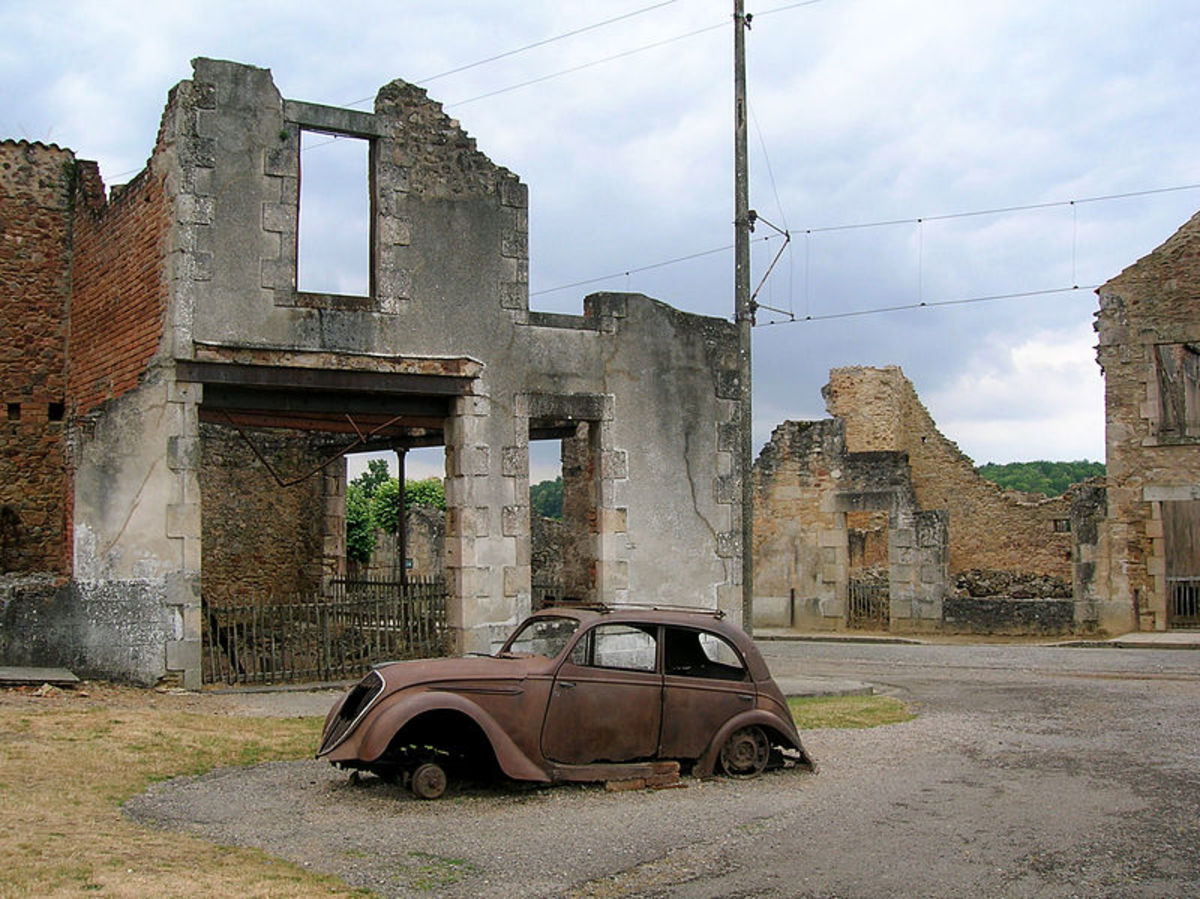 Oradour-sur-Glane. A burnt out French car left as on 10th June 1944.