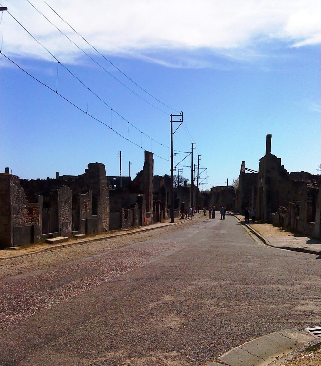 Oradour-sur-Glane main street ruins.