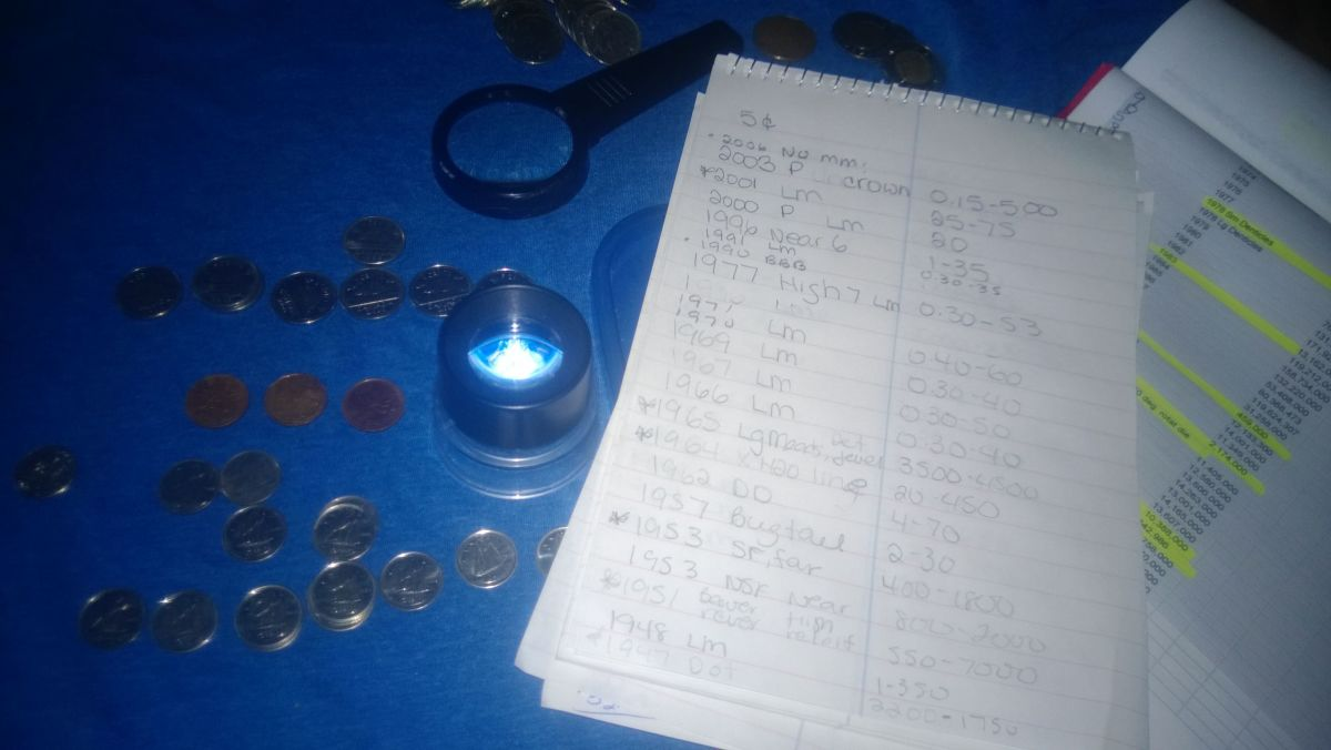 "I always keep my 4x and 10x magnifying glasses close at hand... And the notebook where I have compiled ""hot"" coins to watch for..."