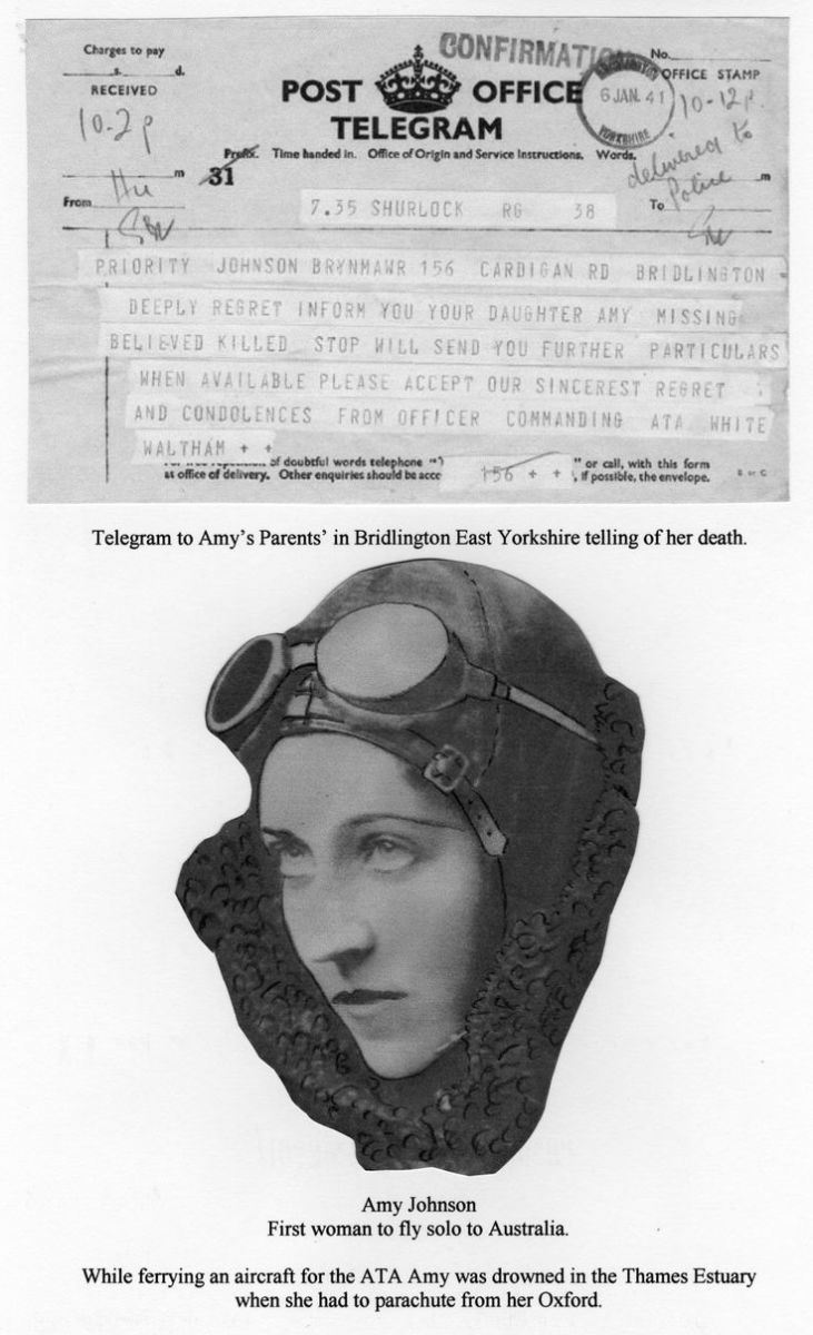 Amy Johnson with the telegram advising of her death.