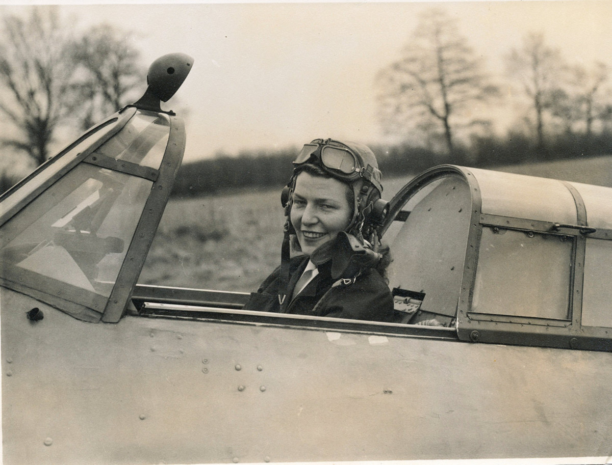 Mary Guthrie in the cockpit of a Hawker Hurricane