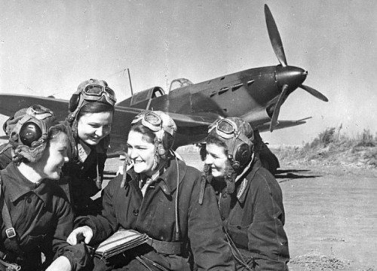 """Another view of the Russian """"Night witches"""" flying Hurricanes supplied by Britain."""