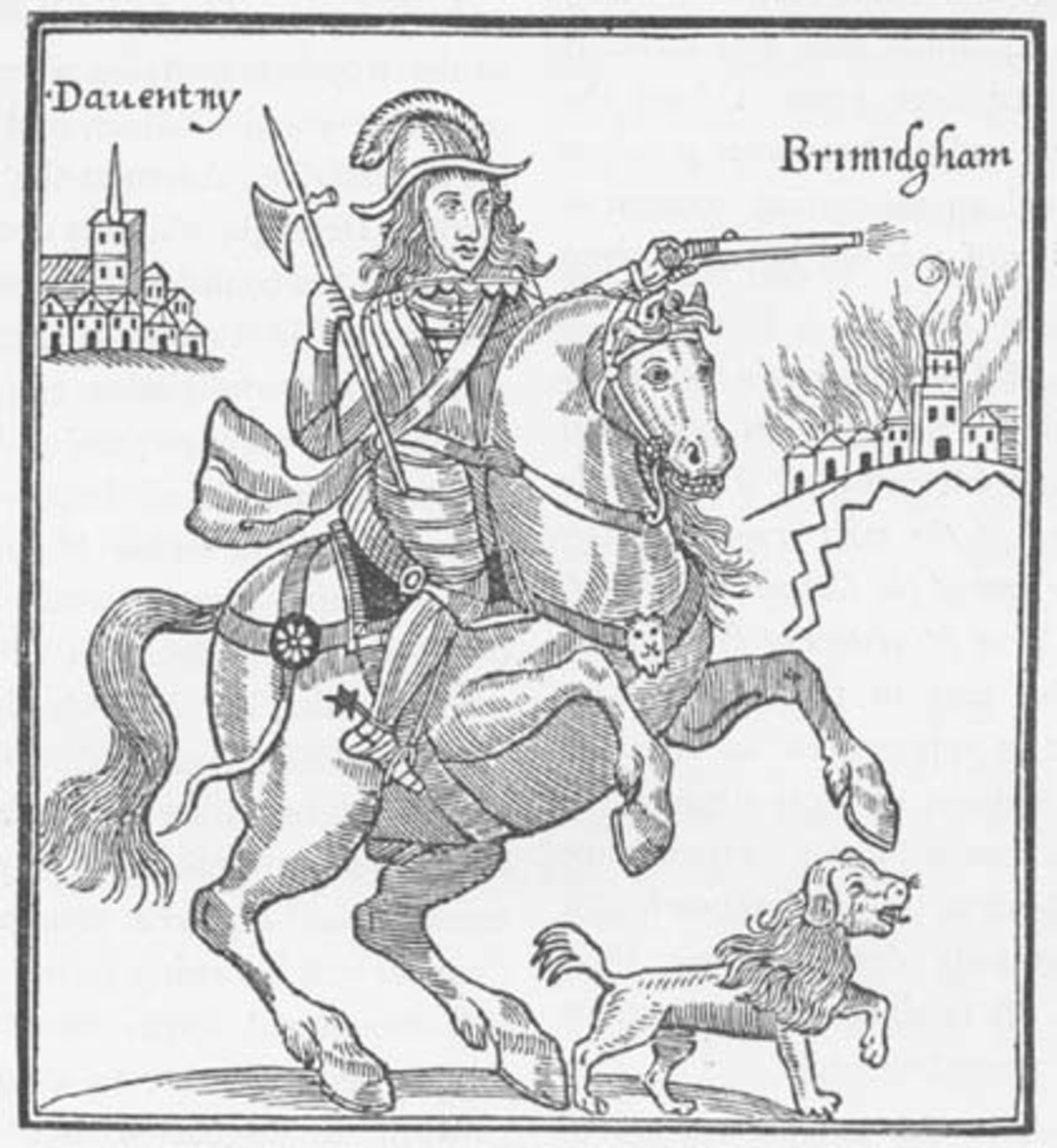 A Parliamentarian pamphlet showing Prince Rupert attacking Birmingham from Coventry.
