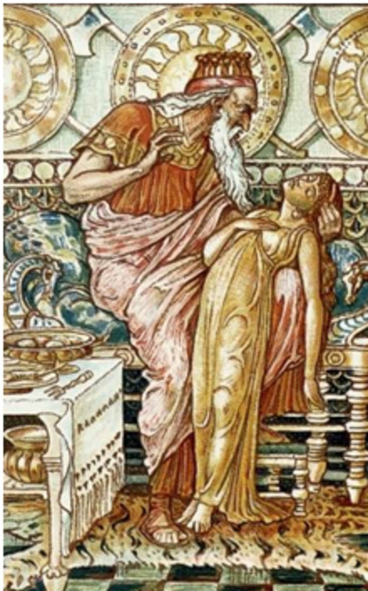 Midas, king of Phrygia, turning his daughter to gold