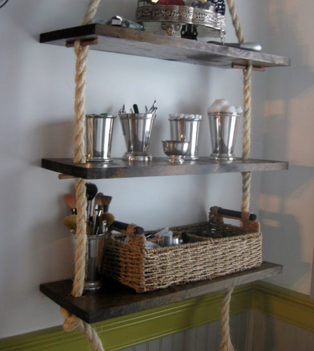 Rope Shelving | Click Pic for 42 DIY Bathroom Organization Ideas