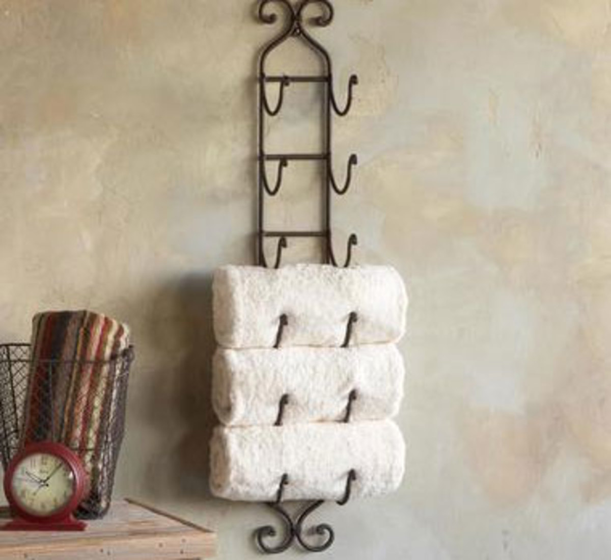 Wine Rack for Towels | Click Pic for 42 DIY Bathroom Organization Ideas