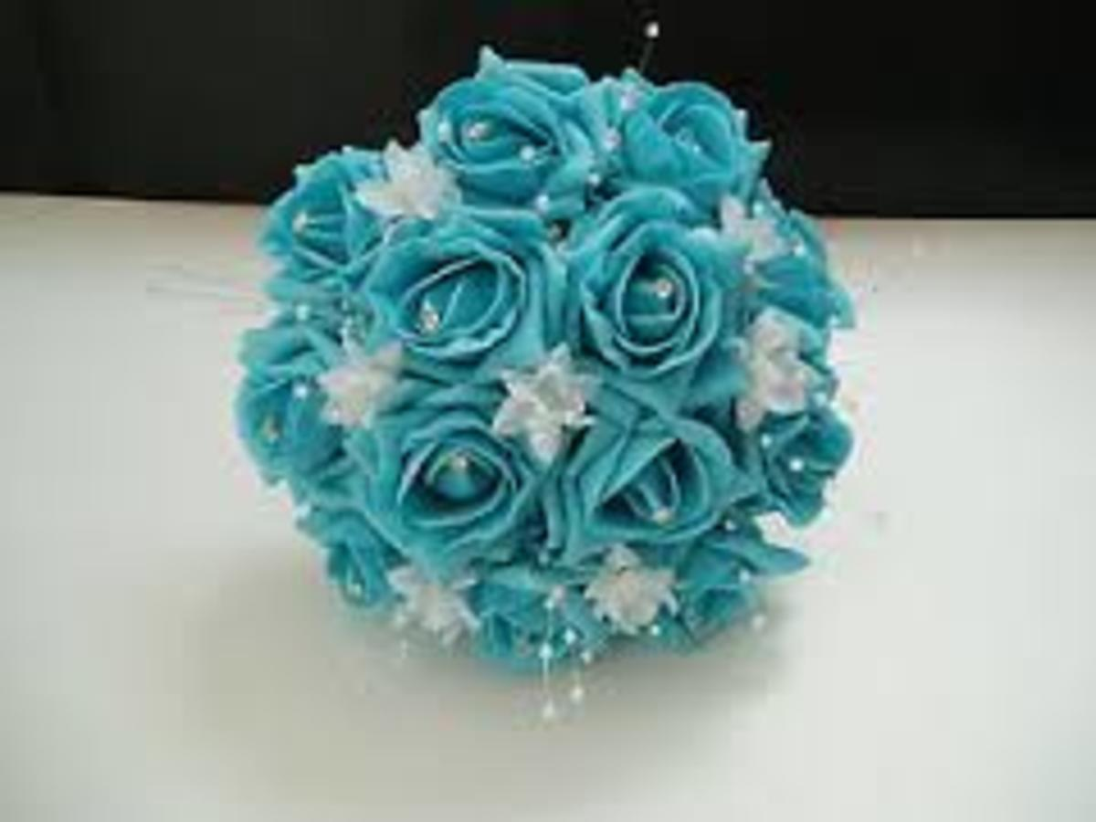 Blue or turquoise roses are for fertility, calm and positive energy