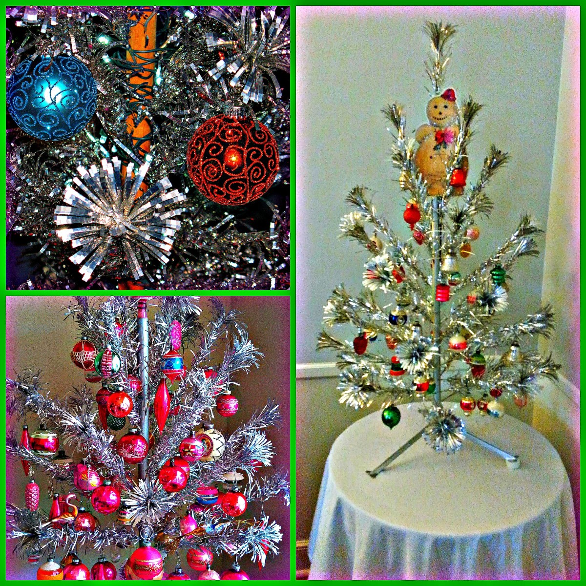 You can go with turquoise or lime green bows, with wrapping paper, and decorations to match. Or if you are feeling blue you can have a blue Christmas with an Aluminum tree anything is possible.