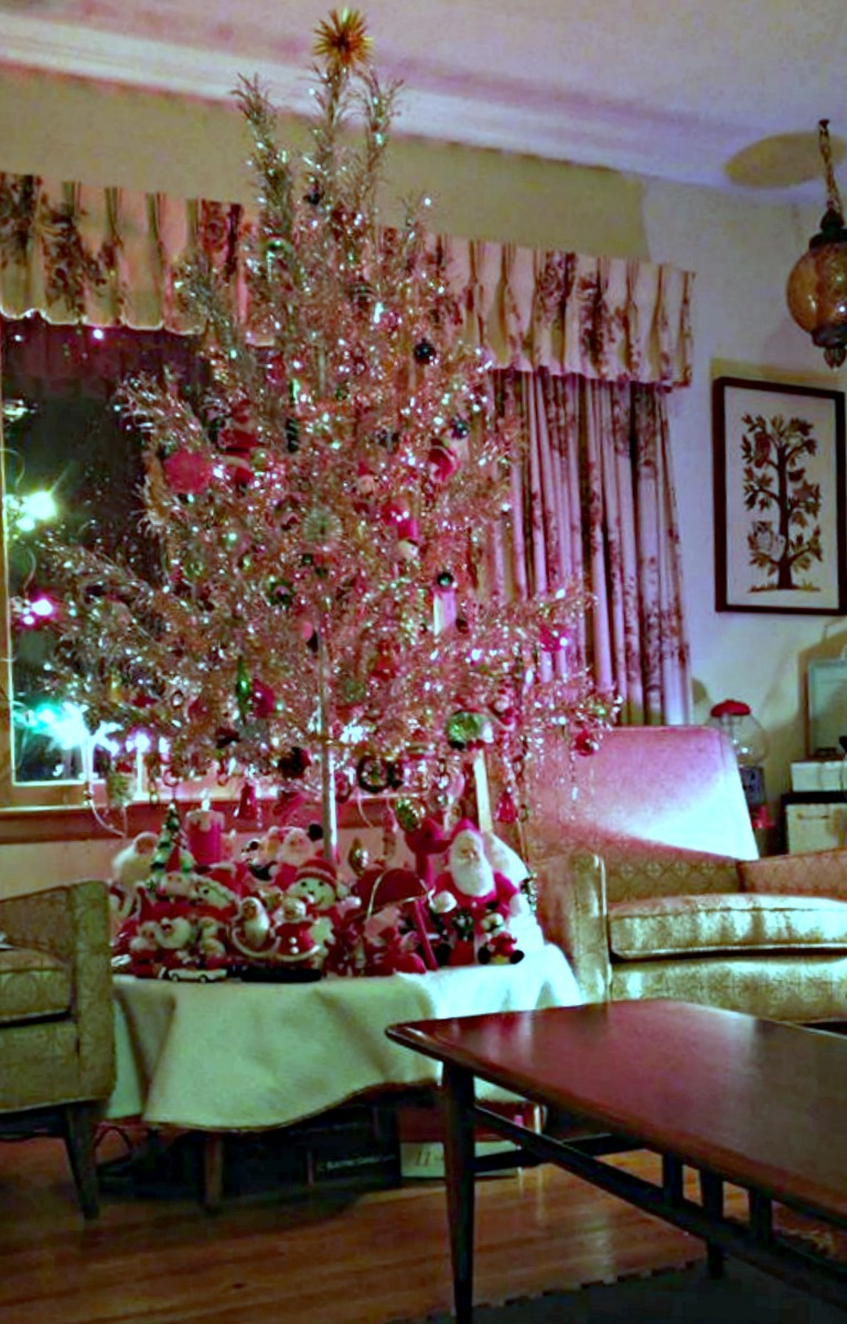 The Amazing 1960 Silver Bright Aluminum Pom Pom Tree. Life was good back in the 1960s for the Aluminum tree business, and draperies were also great  ...