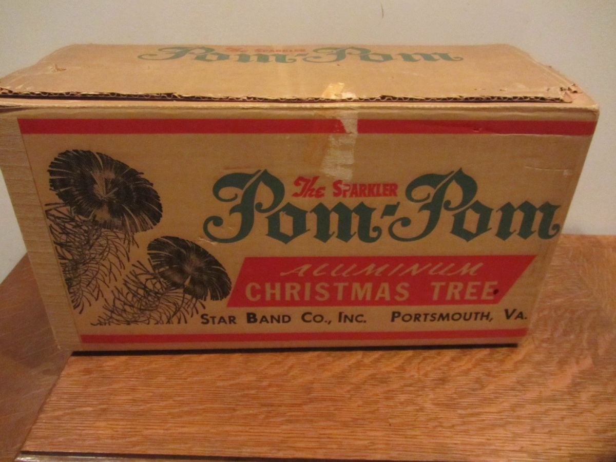 The 1960 Sparkler Pom Pom Christmas Tree Box. Tree number M452 it is four feet high when put to gather. Made in 1960 by the Star Band Company in Portsmouth Virgina ...