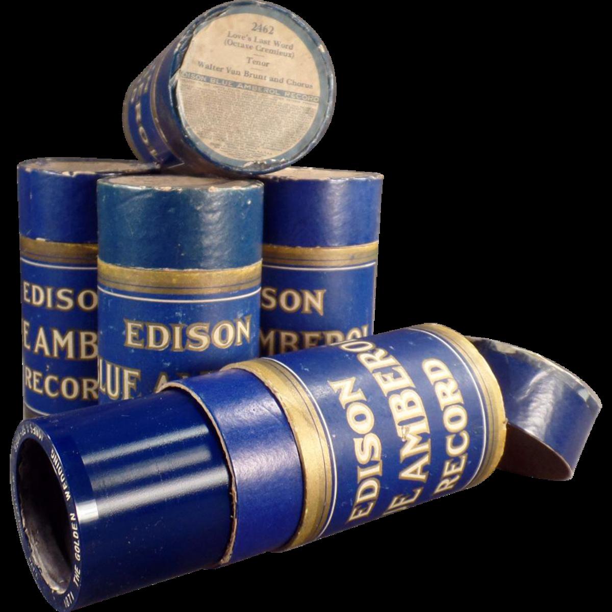 Edison Blue Amberol Cylinders