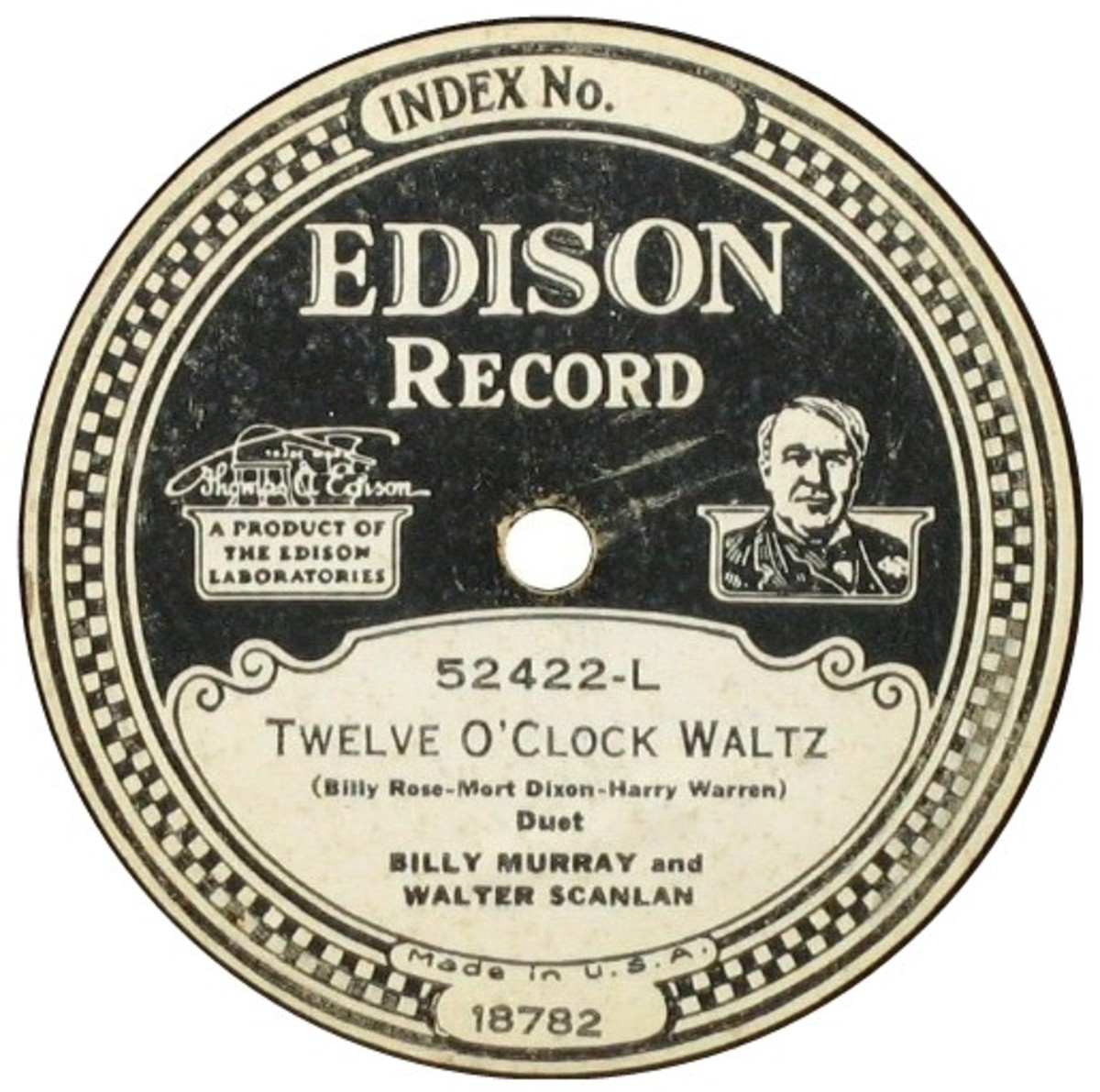 "Edison Diamond Disc Paper Label ""Twelve O' Clock Waltz"" Recorded October 4, 1928"
