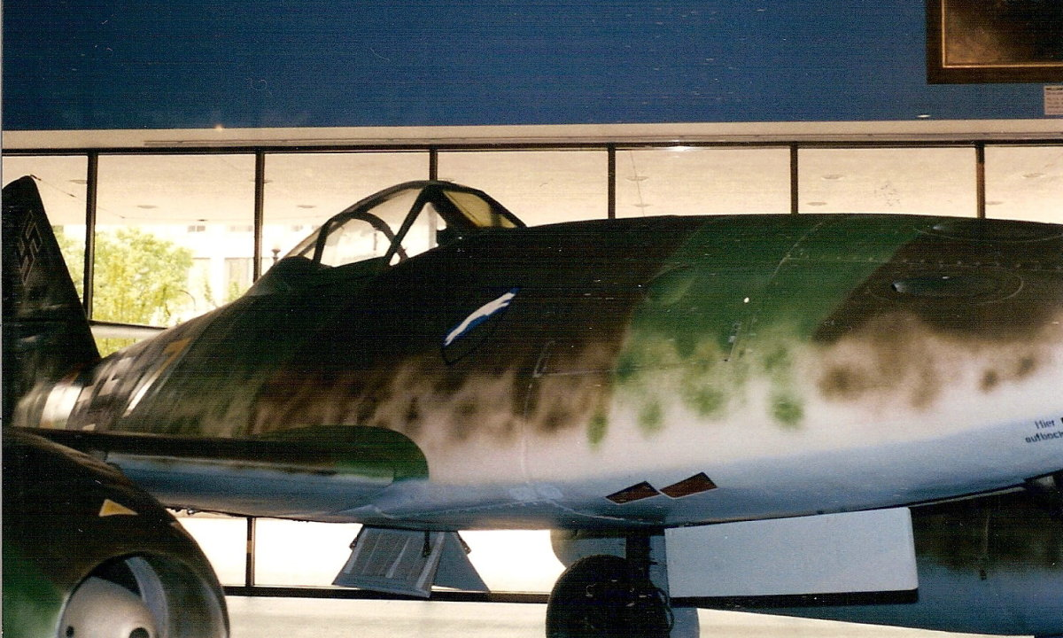 "The Me-262, the ""running fox"" emblem indicated JG7, the Luftwaffe's most successful jet unit."