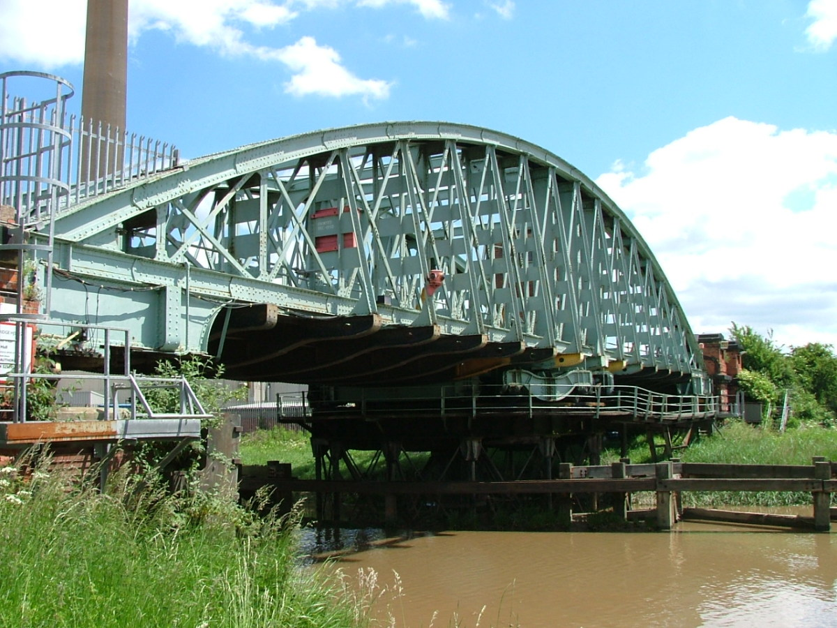 Hull Bridge, another swing bridge that spans the river Hull - the city's name is Kingston-upon-Hull