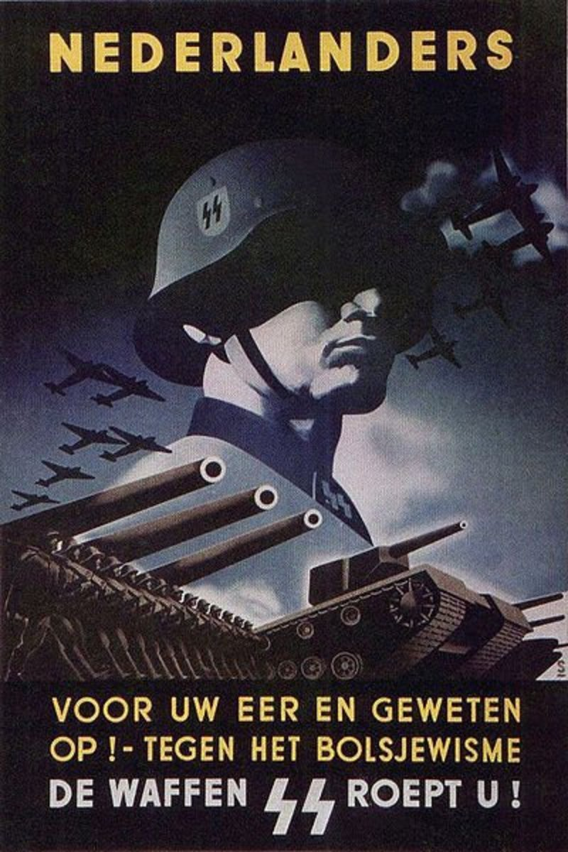 "Nazi SS propaganda poster. calling the Dutch people ""For your honor and conscience against Bolshevism , the Waffen SS calls you!"""