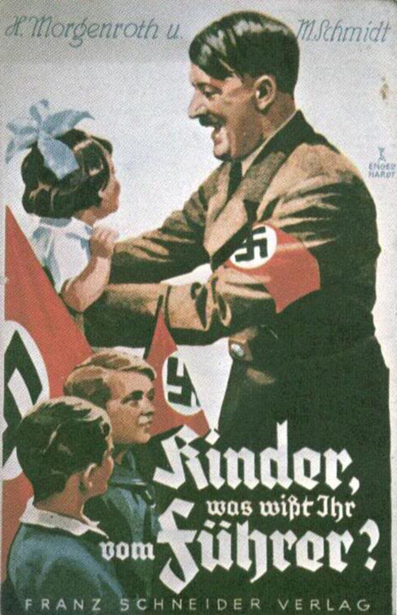 """This Hitler Youth poster shows Adolf Hitler interacting with a group of young Germans. The caption reads, """"Children, what do you know of the Fuhrer?"""""""