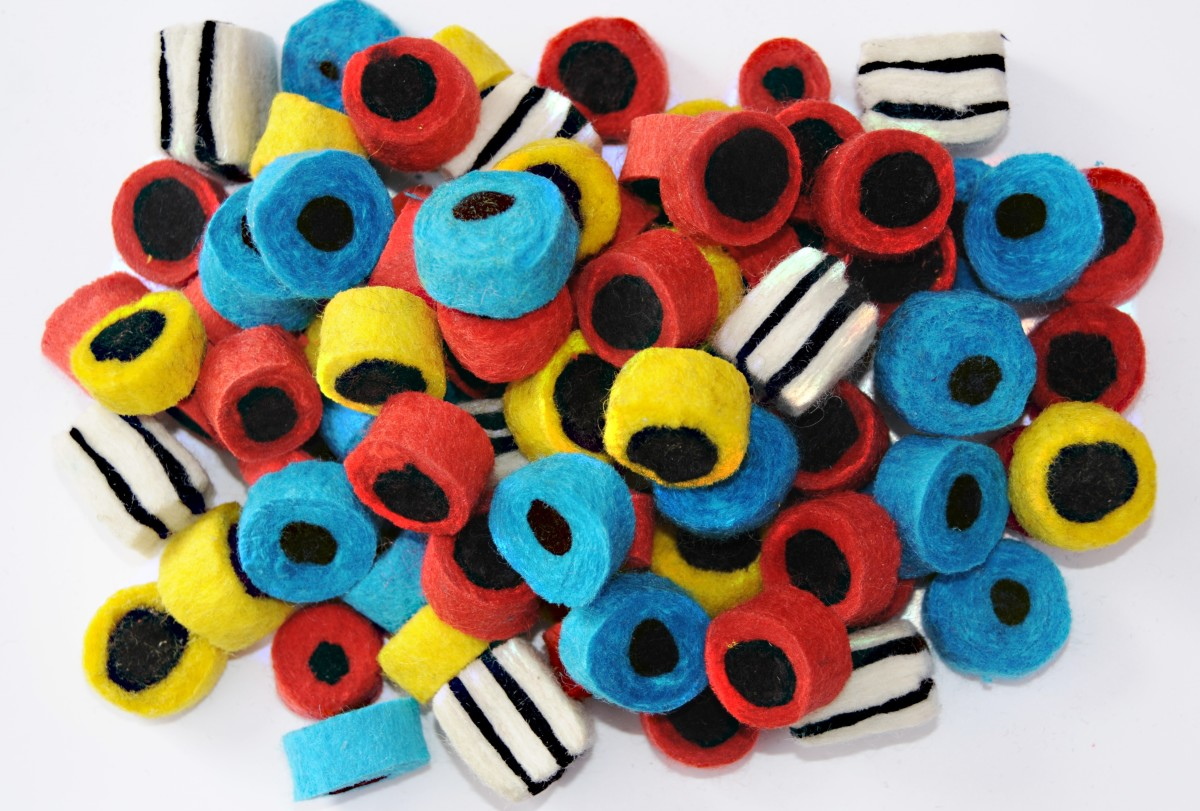 These felt Liquorice Allsorts can be used for a variety of projects such as - Necklaces and Bangles.