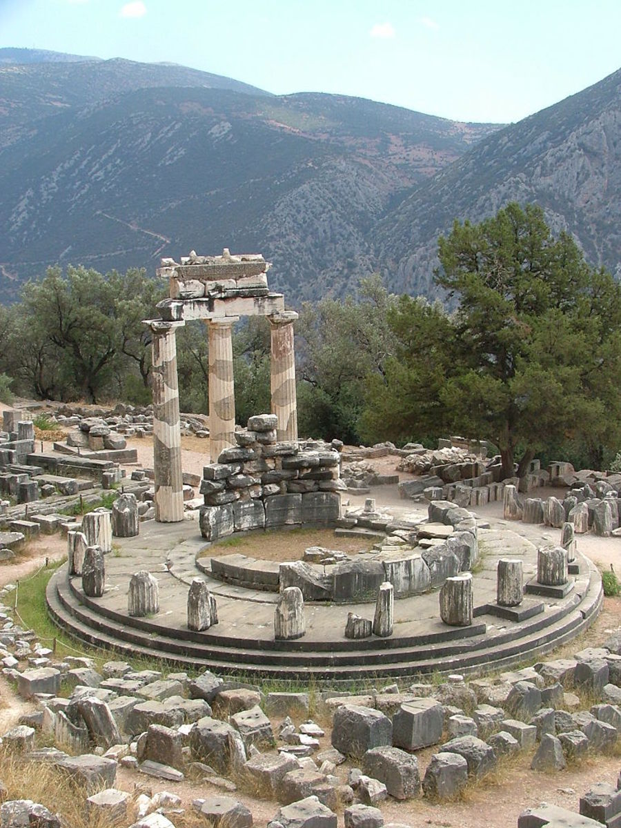 Ruins of the Oracle of Delphi (Appolo) at the base of Mount Parnasus