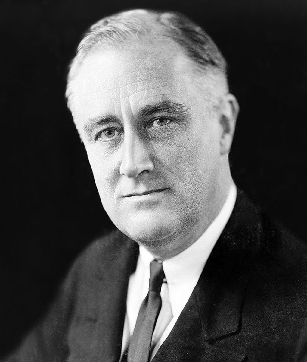 A portrait of Franklin Delano Roosevelt.