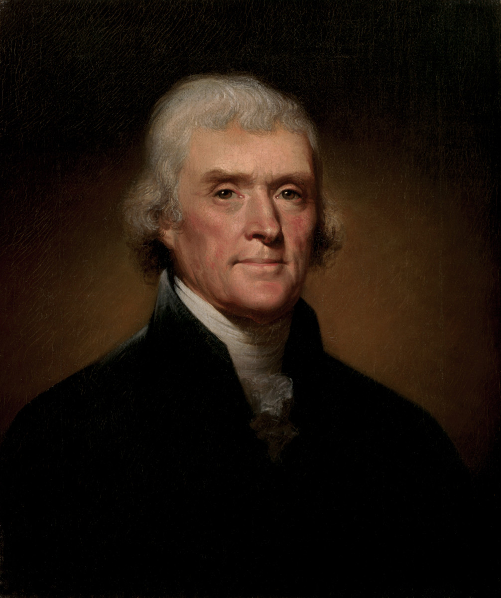 A portrait of Thomas Jefferson.