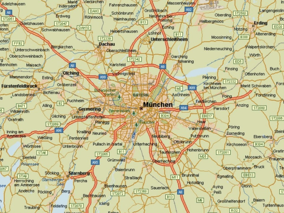 Map of Munich, Germany and environs.