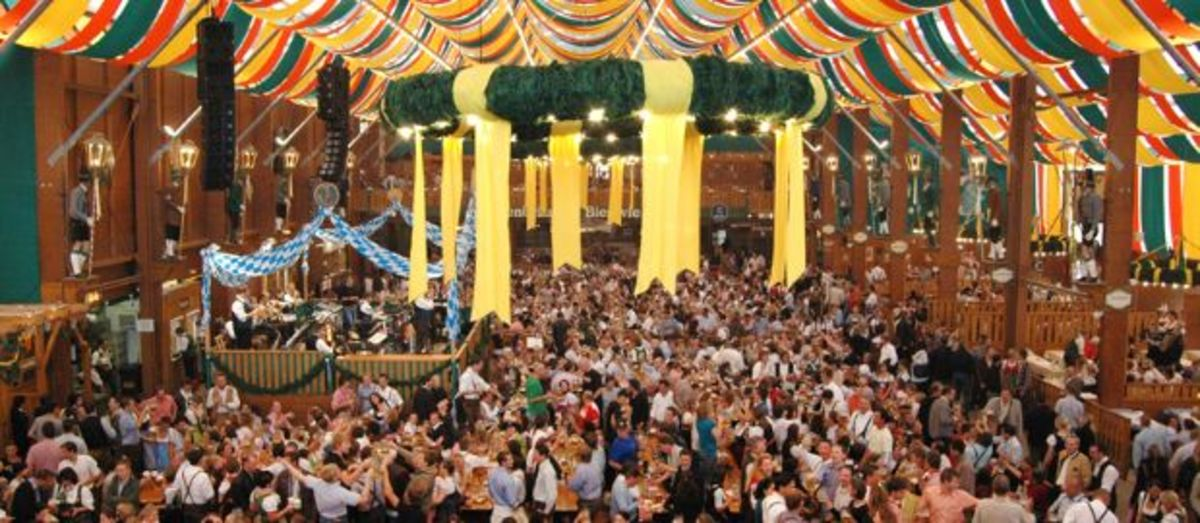 Hofbrau-Festzelt. Largest beer tent at the Oktoberfest.  It holds 10.000 beer drinkers.