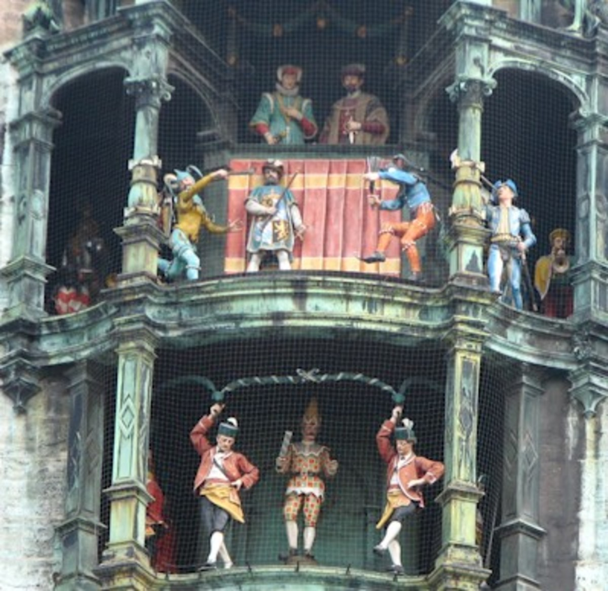 The medieval figurines of the Glockenspiel on the Rathaus in the Marienplatz that dance around each hour as the clock chimes.  This is a big tourist draw each hour.