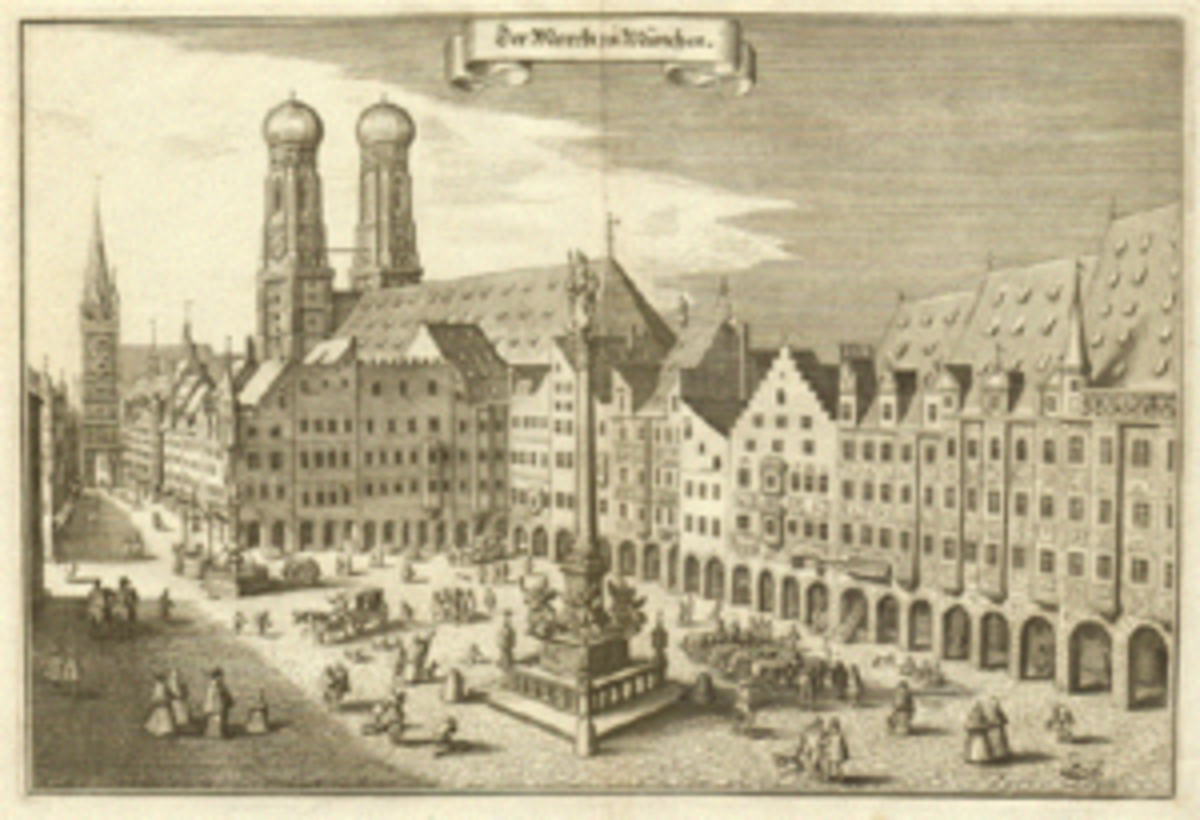 Drawing of the Marienplatz, Munich's center, in the 17th century.