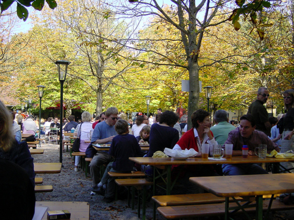 Beer garden in Englisher Garten in Munich.