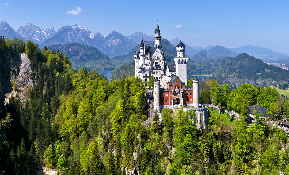 Within an hour drive from Munich is Neuschwanstein Castle, the most famous castle in Germany.  Home of Mad Ludwig II of Bavaria in the 19th century.