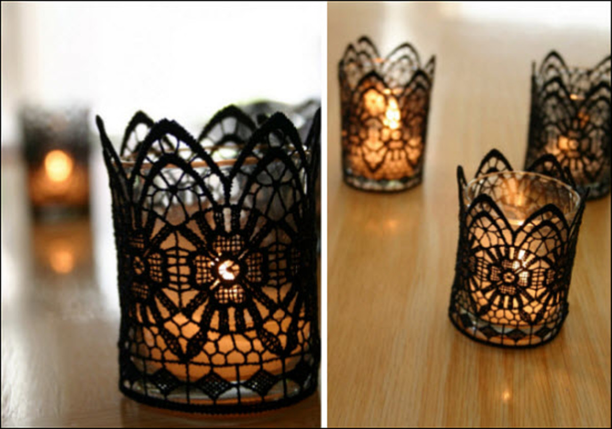 Candles covered with black lace