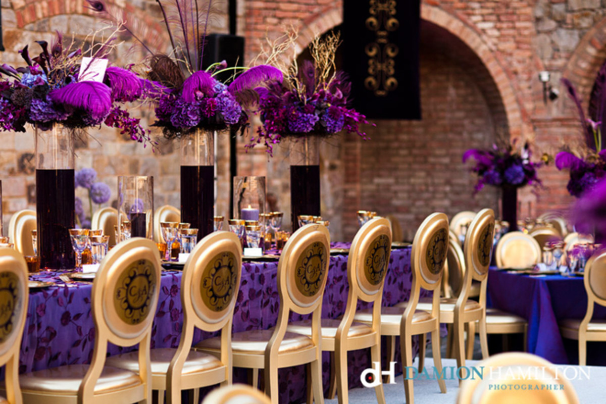 Gorgeous and Royal Purple wedding table  décor for long tables